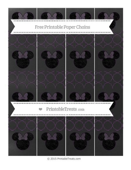 Free Dark Purple Quatrefoil Pattern Chalk Style Minnie Mouse Paper Chains