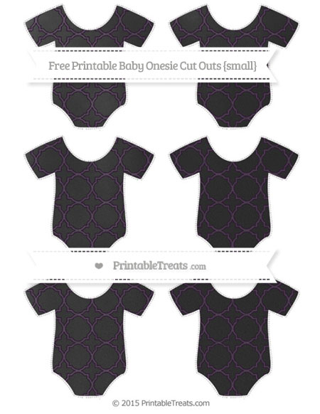 Free Dark Purple Quatrefoil Pattern Chalk Style Small Baby Onesie Cut Outs