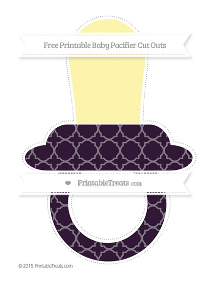 Free Dark Purple Quatrefoil Pattern Extra Large Baby Pacifier Cut Outs