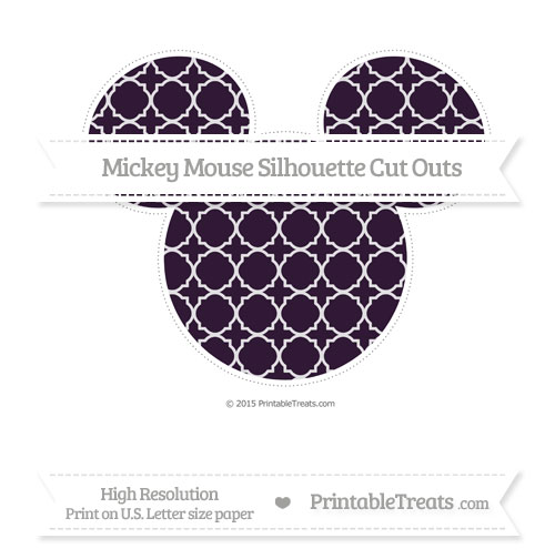 Free Dark Purple Quatrefoil Pattern Extra Large Mickey Mouse Silhouette Cut Outs