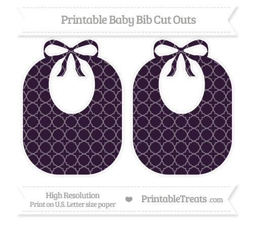 Free Dark Purple Quatrefoil Pattern Large Baby Bib Cut Outs