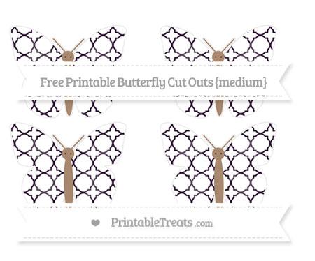 Free Dark Purple Quatrefoil Pattern Medium Butterfly Cut Outs