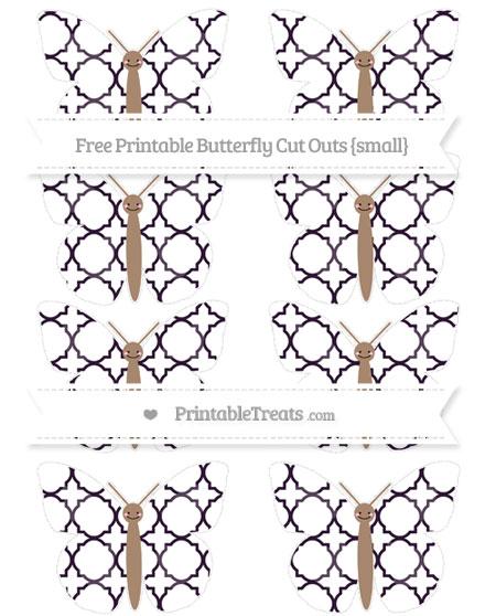 Free Dark Purple Quatrefoil Pattern Small Smiley Butterfly Cut Outs