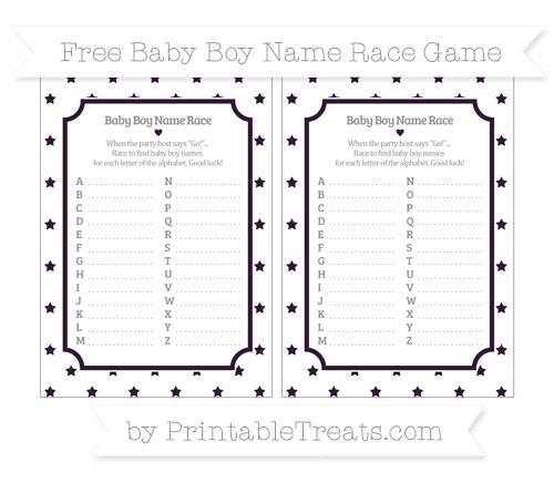 Free Dark Purple Star Pattern Baby Boy Name Race Game