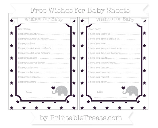 Free Dark Purple Star Pattern Baby Elephant Wishes for Baby Sheets