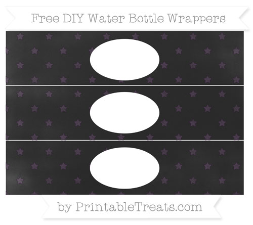 Free Dark Purple Star Pattern Chalk Style DIY Water Bottle Wrappers