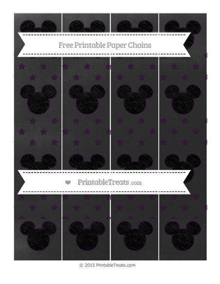 Free Dark Purple Star Pattern Chalk Style Mickey Mouse Paper Chains