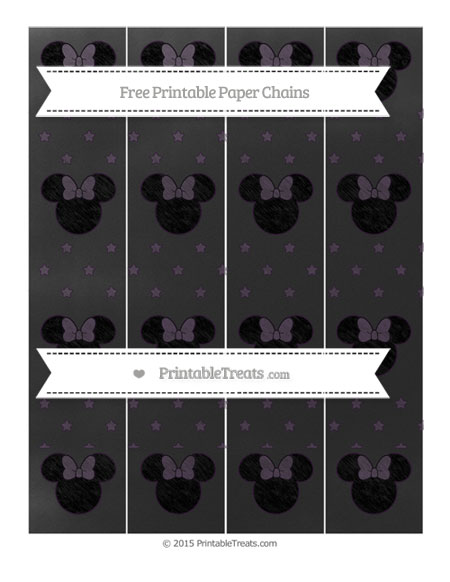 Free Dark Purple Star Pattern Chalk Style Minnie Mouse Paper Chains