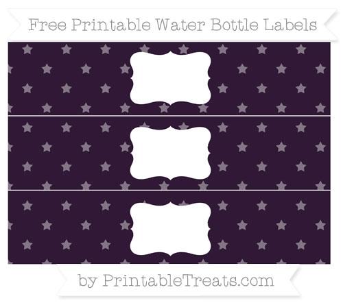 Free Dark Purple Star Pattern Water Bottle Labels
