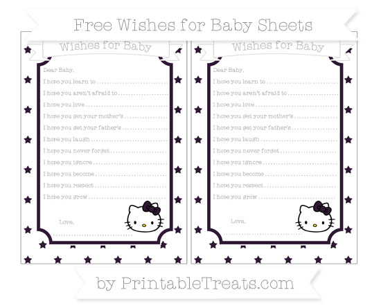 Free Dark Purple Star Pattern Hello Kitty Wishes for Baby Sheets
