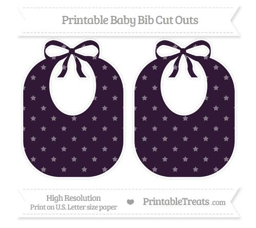 Free Dark Purple Star Pattern Large Baby Bib Cut Outs