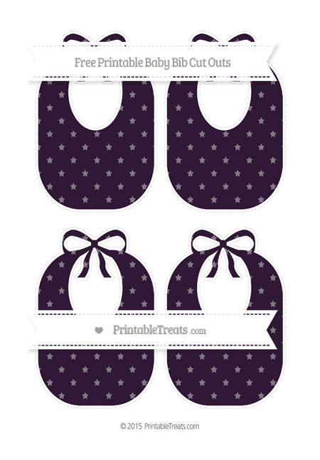 Free Dark Purple Star Pattern Medium Baby Bib Cut Outs