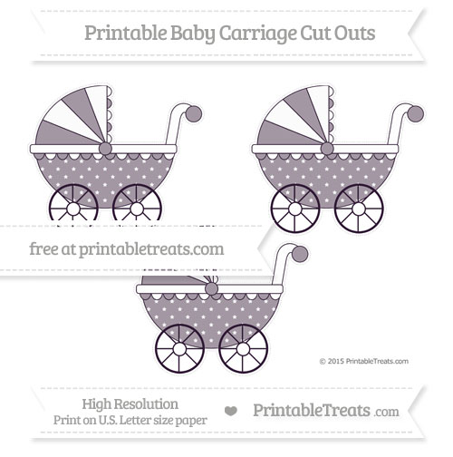 Free Dark Purple Star Pattern Medium Baby Carriage Cut Outs