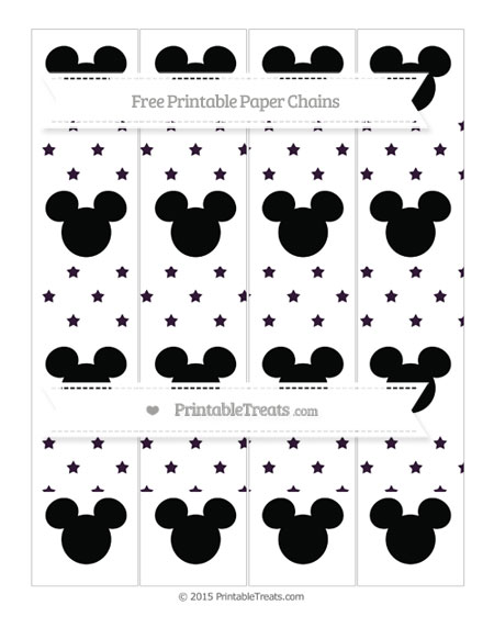 Free Dark Purple Star Pattern Mickey Mouse Paper Chains