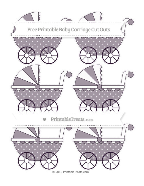Free Dark Purple Star Pattern Small Baby Carriage Cut Outs