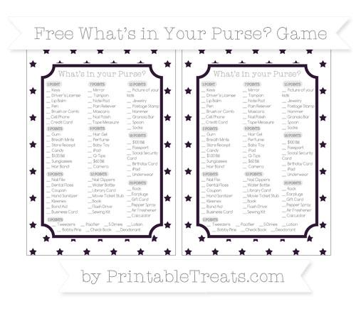 Free Dark Purple Star Pattern What's in Your Purse Baby Shower Game