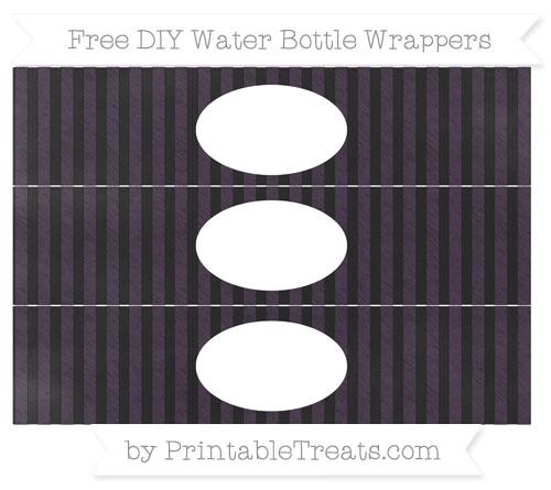 Free Dark Purple Striped Chalk Style DIY Water Bottle Wrappers