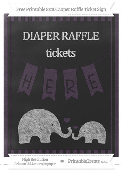 Free Dark Purple Striped Chalk Style Elephant 8x10 Diaper Raffle Ticket Sign