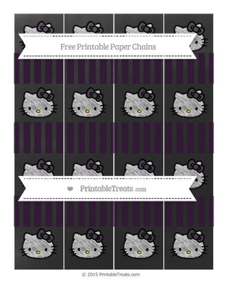 Free Dark Purple Striped Chalk Style Hello Kitty Paper Chains