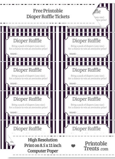 Free Dark Purple Striped Diaper Raffle Tickets