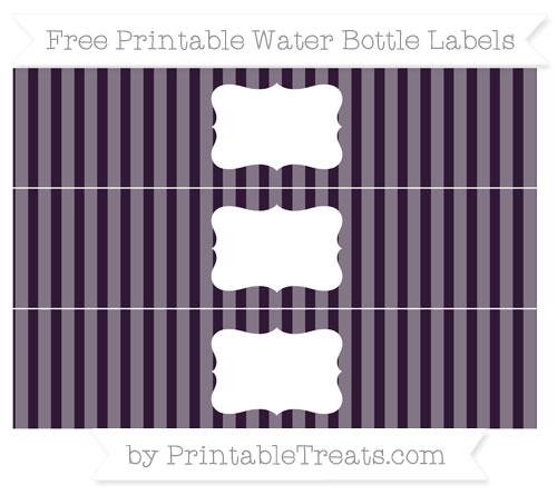 Free Dark Purple Striped Water Bottle Labels
