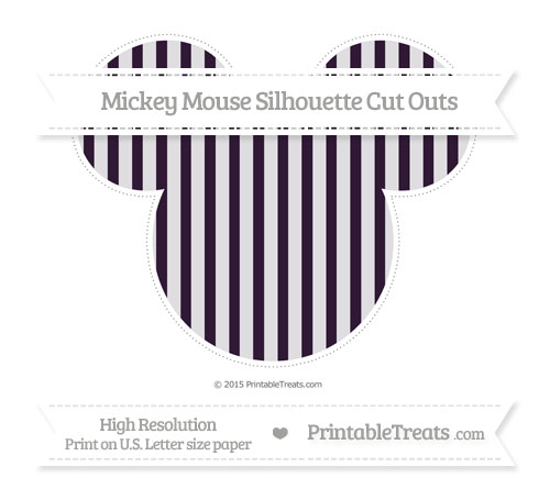 Free Dark Purple Striped Extra Large Mickey Mouse Silhouette Cut Outs