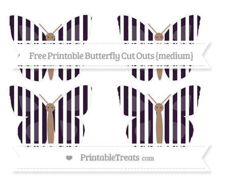 Free Dark Purple Striped Medium Butterfly Cut Outs