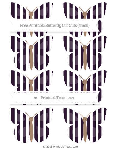 Free Dark Purple Striped Small Butterfly Cut Outs