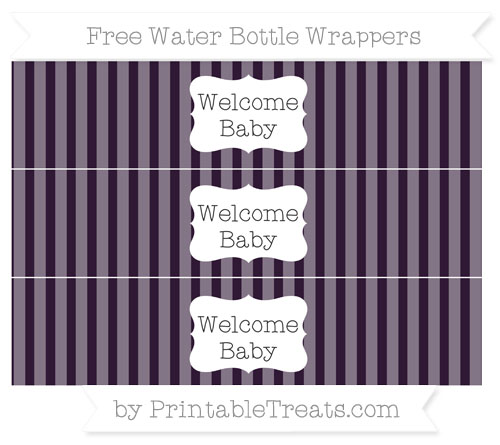 Free Dark Purple Striped Welcome Baby Water Bottle Wrappers