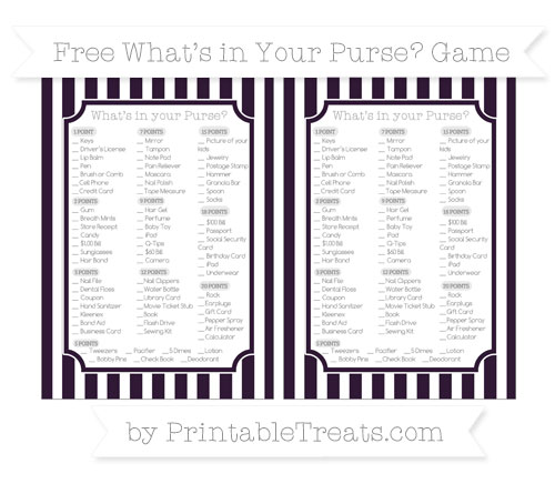 Free Dark Purple Striped What's in Your Purse Baby Shower Game