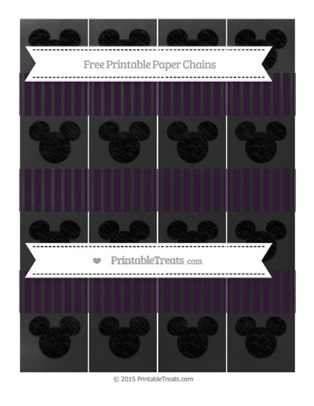 Free Dark Purple Thin Striped Pattern Chalk Style Mickey Mouse Paper Chains
