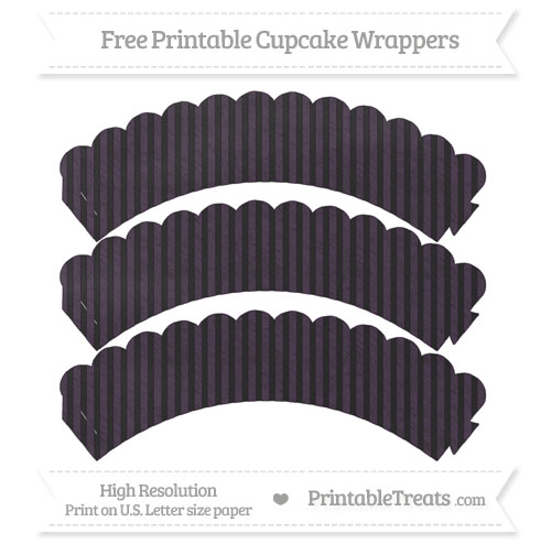 Free Dark Purple Thin Striped Pattern Chalk Style Scalloped Cupcake Wrappers