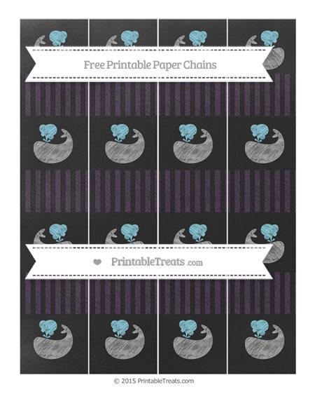 Free Dark Purple Thin Striped Pattern Chalk Style Whale Paper Chains