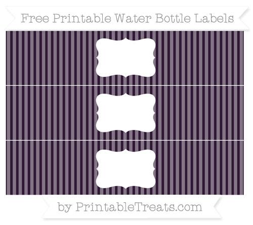 Free Dark Purple Thin Striped Pattern Water Bottle Labels