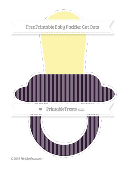 Free Dark Purple Thin Striped Pattern Extra Large Baby Pacifier Cut Outs