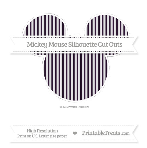 Free Dark Purple Thin Striped Pattern Extra Large Mickey Mouse Silhouette Cut Outs