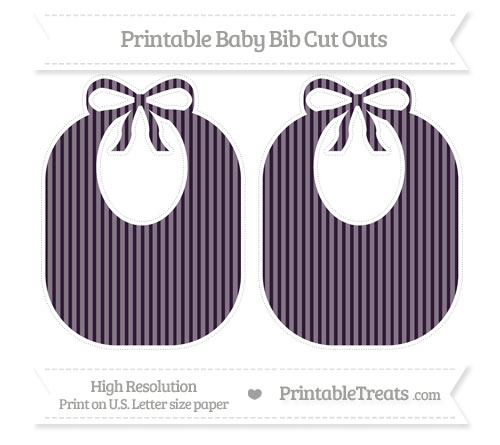 Free Dark Purple Thin Striped Pattern Large Baby Bib Cut Outs