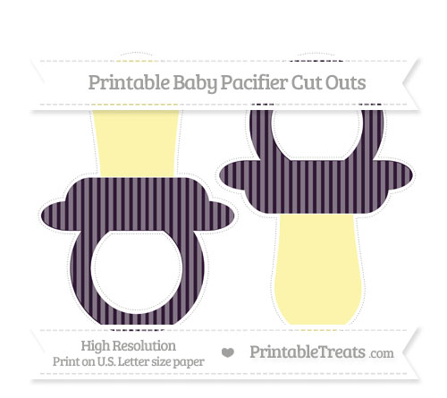 Free Dark Purple Thin Striped Pattern Large Baby Pacifier Cut Outs