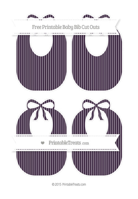 Free Dark Purple Thin Striped Pattern Medium Baby Bib Cut Outs