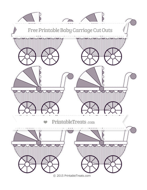 Free Dark Purple Thin Striped Pattern Small Baby Carriage Cut Outs