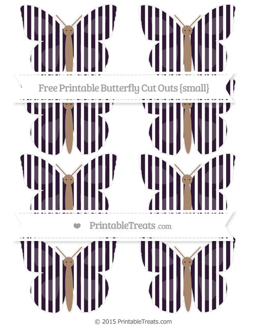 Free Dark Purple Thin Striped Pattern Small Butterfly Cut Outs
