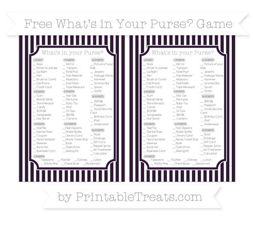 Free Dark Purple Thin Striped Pattern What's in Your Purse Baby Shower Game