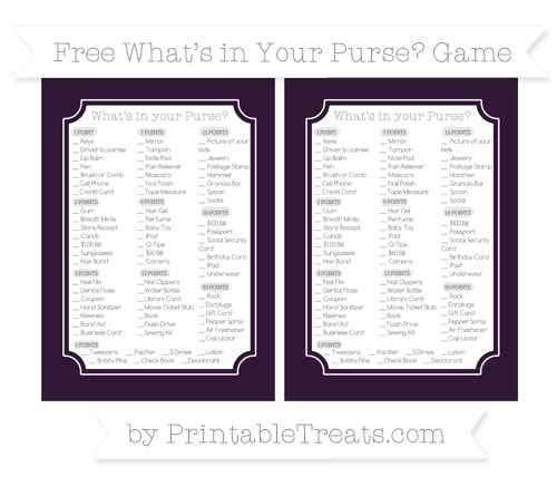 Free Dark Purple What's in Your Purse Baby Shower Game