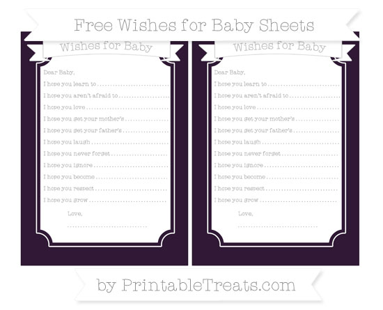 Free Dark Purple Wishes for Baby Sheets