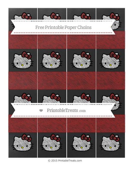 Free Dark Red Chalk Style Hello Kitty Paper Chains