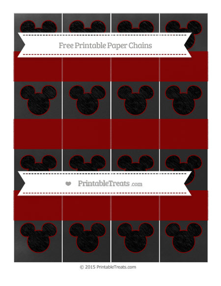 Free Dark Red Chalk Style Mickey Mouse Paper Chains