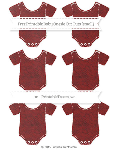 Free Dark Red Chalk Style Small Baby Onesie Cut Outs