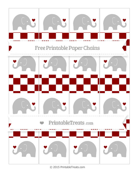 Free Dark Red Checker Pattern Baby Elephant Paper Chains