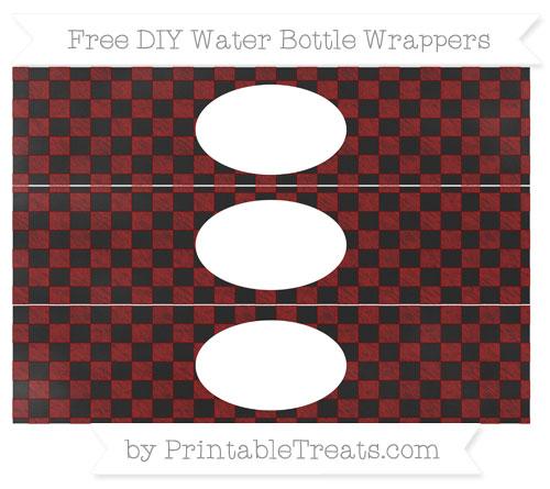 Free Dark Red Checker Pattern Chalk Style DIY Water Bottle Wrappers