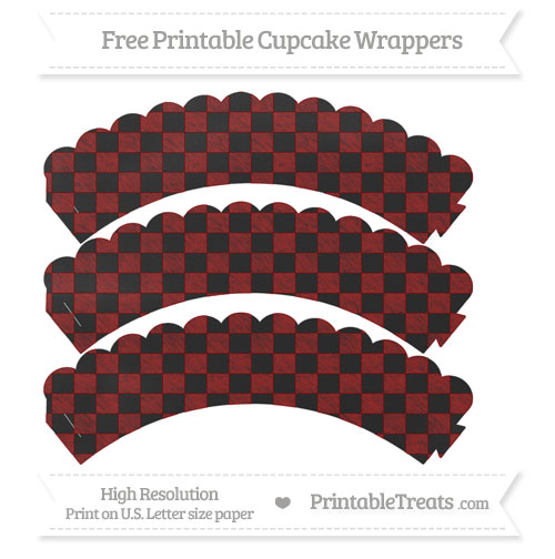 Free Dark Red Checker Pattern Chalk Style Scalloped Cupcake Wrappers